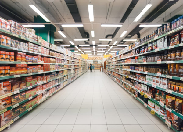 aisles of a retail store with products